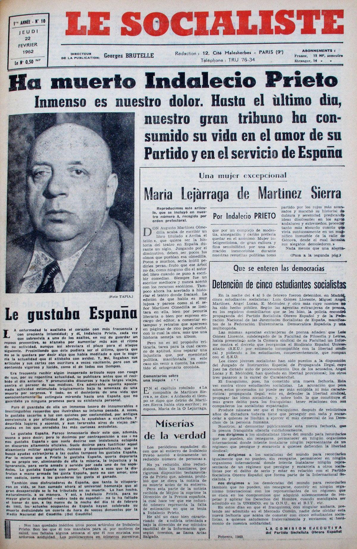 Muerte de Indalecio Prieto