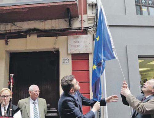 Conmemoración del Día de Europa junto a la casa natal de Indalecio Prieto